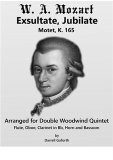 Exsultate, jubilate, K.165: For woodwind quintet by Wolfgang Amadeus Mozart