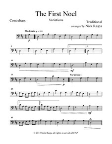 The First Noel. Variations: For string orchestra – double bass part by folklore