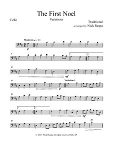 The First Noel. Variations: For string orchestra – cello part by folklore