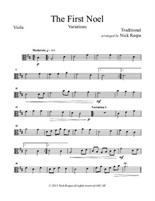 The First Noel. Variations: For string orchestra – viola part by folklore