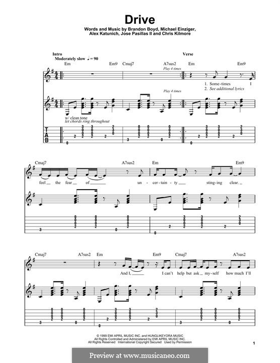 Drive (Incubus): Für Gitarre mit Tabulatur by Alex Katunich, Brandon Boyd, Chris Kilmore, Jose Pasillas II, Michael Einziger