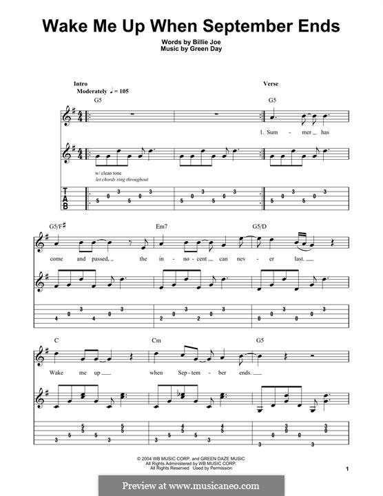 Wake Me Up When September Ends (Green Day): Für Gitarre mit Tabulatur by Billie Joe Armstrong, Tré Cool, Michael Pritchard