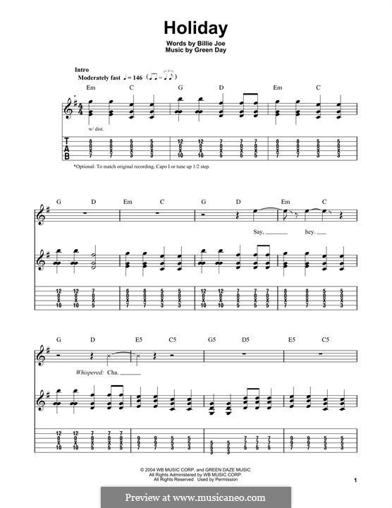 Holiday (Green Day): Für Gitarre mit Tabulatur by Billie Joe Armstrong, Tré Cool, Michael Pritchard