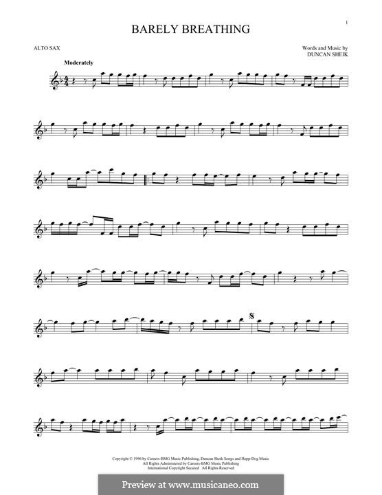 Barely Breathing: Für Altsaxophon by Duncan Sheik