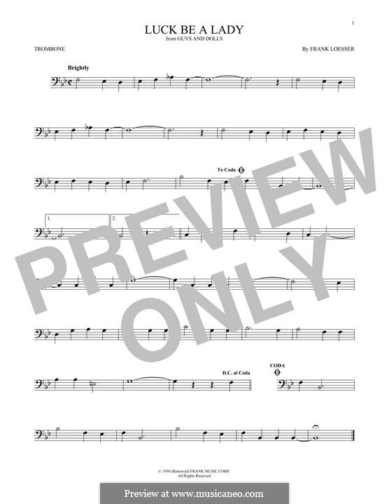 Luck, Be a Lady (from Guys and Dolls): For trombone by Frank Loesser