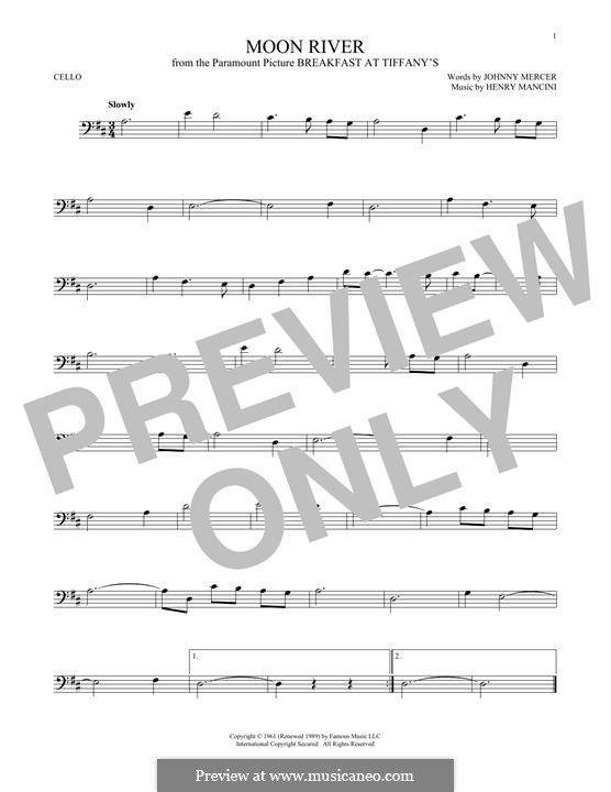 Moon River (from Breakfast at Tiffany's): Für Cello by Henry Mancini