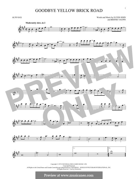 Goodbye Yellow Brick Road: Für Altsaxophon by Elton John