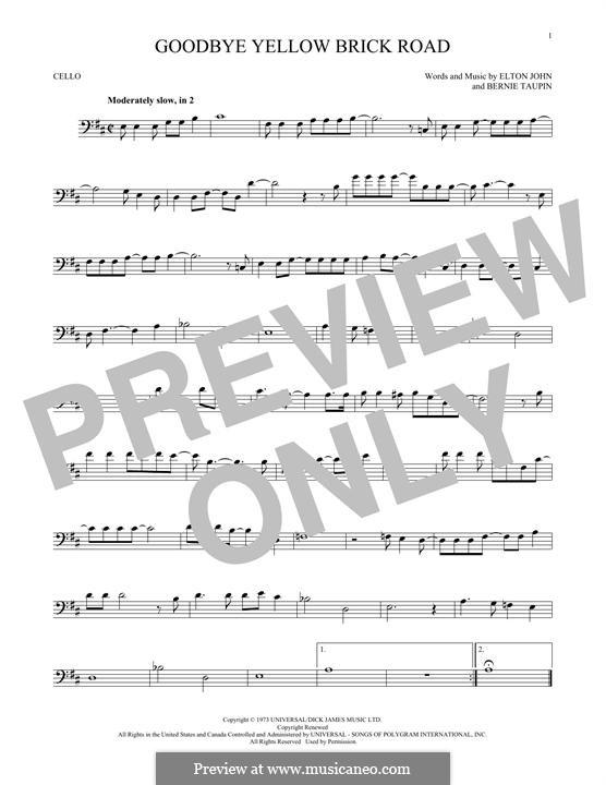 Goodbye Yellow Brick Road: Für Cello by Elton John