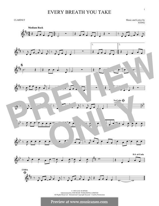 Every Breath You Take (The Police): Für Klarinette by Sting