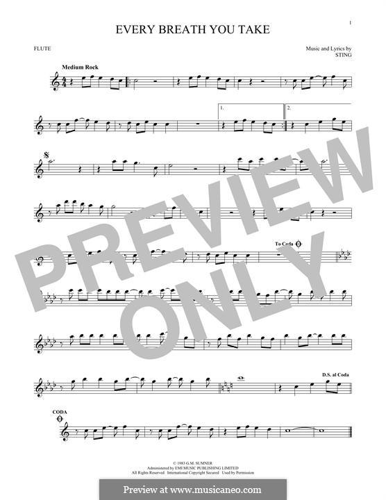 Every Breath You Take (The Police): Für Flöte by Sting