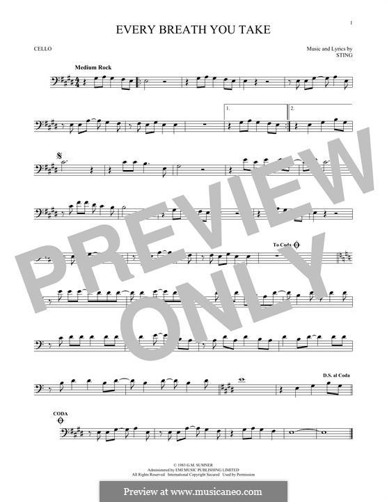 Every Breath You Take (The Police): Für Cello by Sting