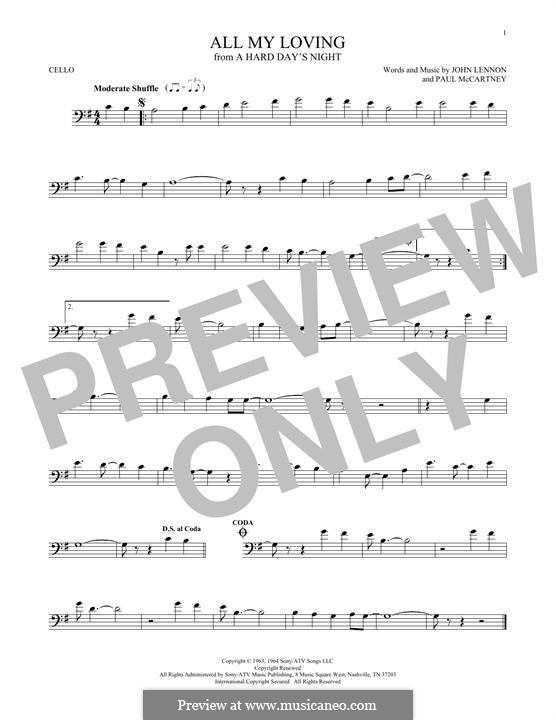 All My Loving (The Beatles): Für Cello by John Lennon, Paul McCartney