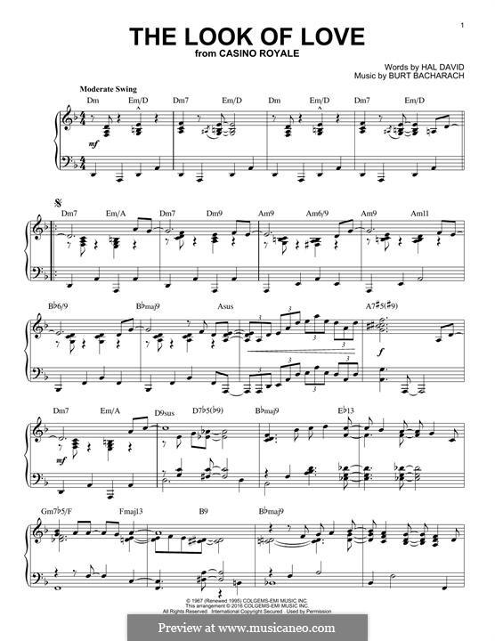The Look of Love: Für Klavier by Burt Bacharach