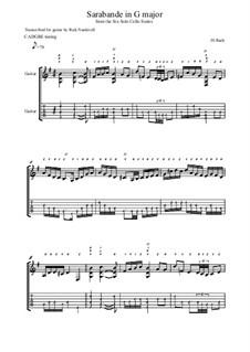 Suite für Cello Nr.1 in G-Dur, BWV 1007: Sarabande. Version for guitar with tab by Johann Sebastian Bach