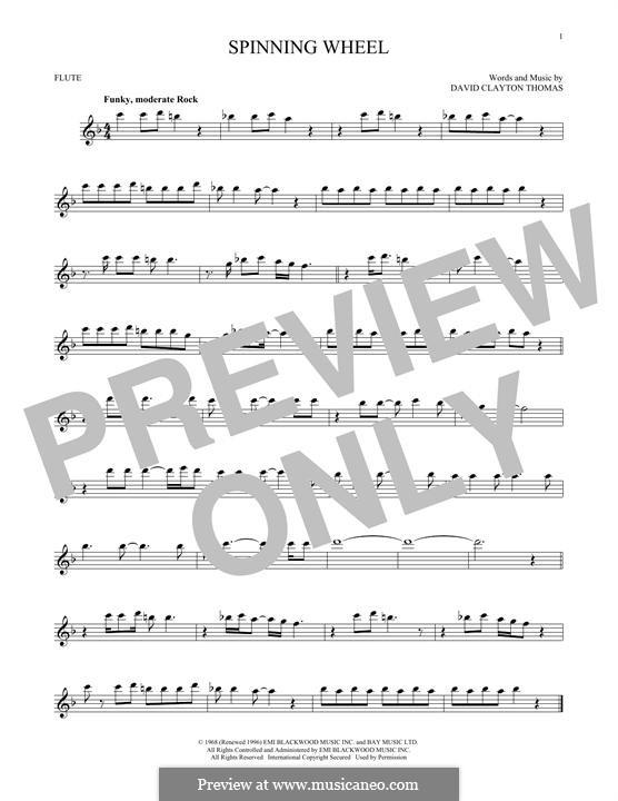 Spinning Wheel (Blood, Sweat & Tears): Für Flöte by David Clayton Thomas