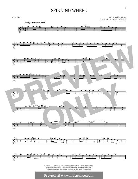Spinning Wheel (Blood, Sweat & Tears): Für Altsaxophon by David Clayton Thomas