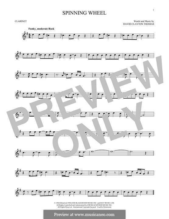 Spinning Wheel (Blood, Sweat & Tears): Für Klarinette by David Clayton Thomas