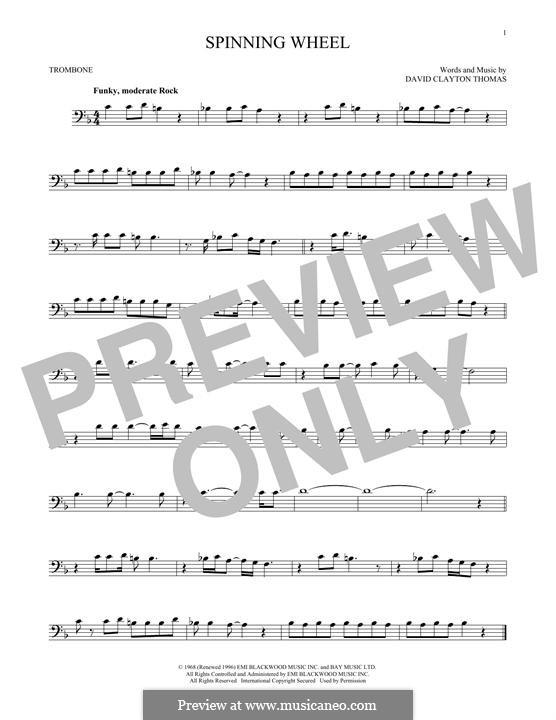 Spinning Wheel (Blood, Sweat & Tears): For trombone by David Clayton Thomas