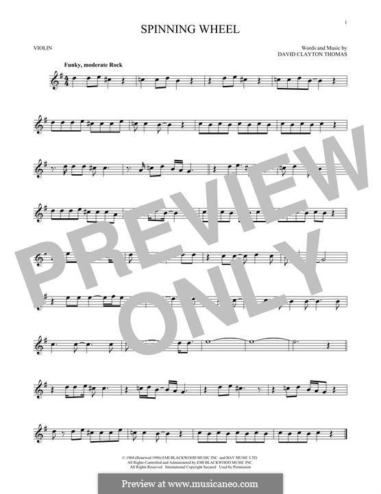Spinning Wheel (Blood, Sweat & Tears): Für Violine by David Clayton Thomas