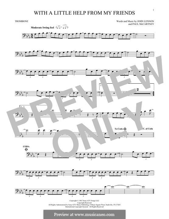 With a Little Help from My Friends (The Beatles): For trombone by John Lennon, Paul McCartney