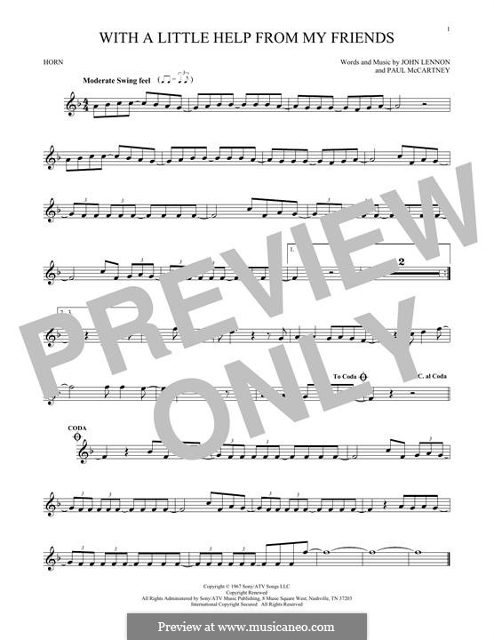 With a Little Help from My Friends (The Beatles): For horn by John Lennon, Paul McCartney