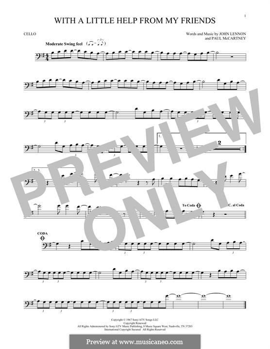 With a Little Help from My Friends (The Beatles): Für Cello by John Lennon, Paul McCartney