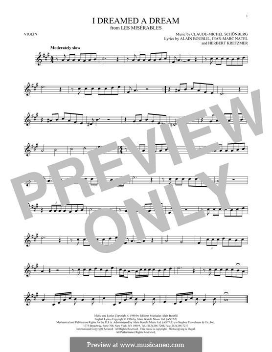I Dreamed a Dream: Für Violine by Claude-Michel Schönberg