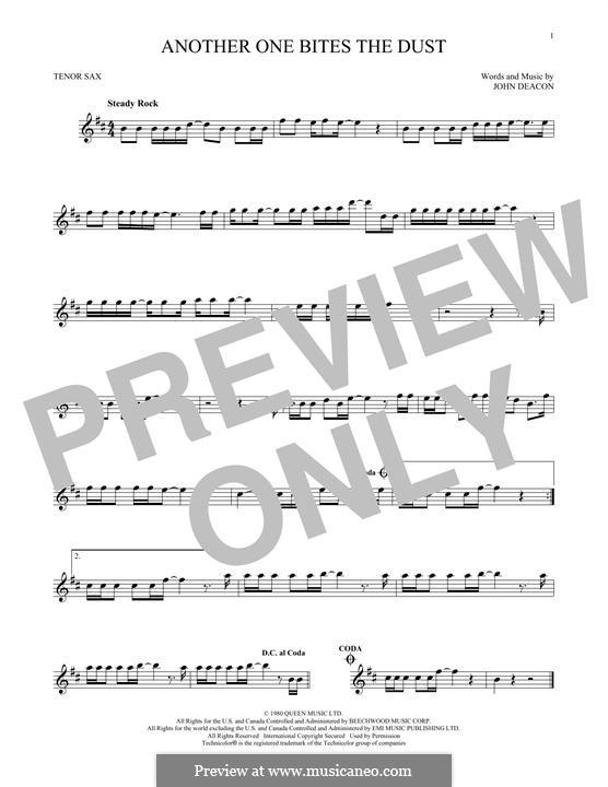 Another One Bites the Dust (Queen): Für Tenorsaxophon by John Deacon