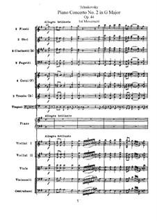 Konzert für Klavier und Orchester Nr.2 in G-Dur, TH 60 Op.44: Teil I by Pjotr Tschaikowski
