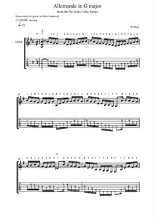 Suite für Cello Nr.1 in G-Dur, BWV 1007: Allemande, for guitar by Johann Sebastian Bach