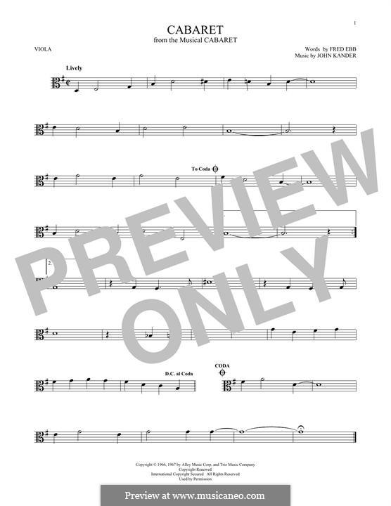 Cabaret (Liza Minnelli): For viola by John Kander