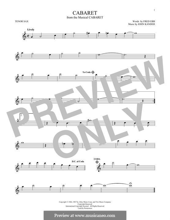 Cabaret (Liza Minnelli): Für Tenorsaxophon by John Kander