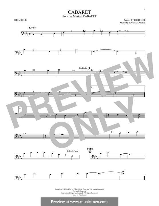 Cabaret (Liza Minnelli): For trombone by John Kander