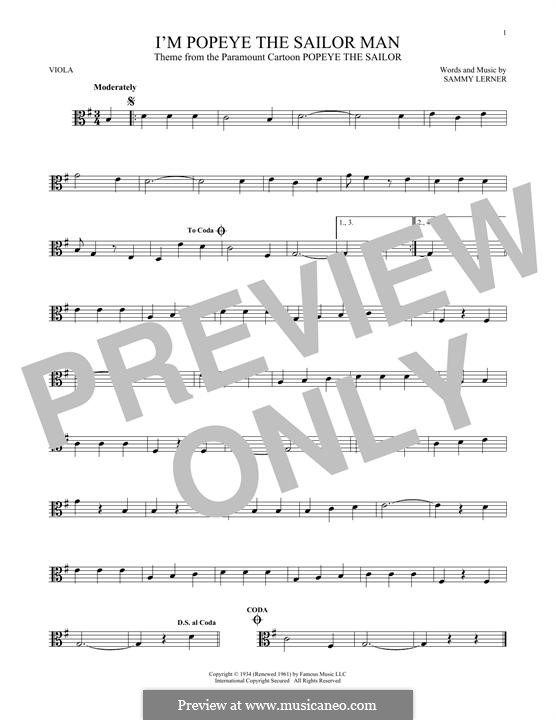 I'm Popeye the Sailor Man (from the Paramount Cartoon Popeye the Sailor): For viola by Sammy Lerner