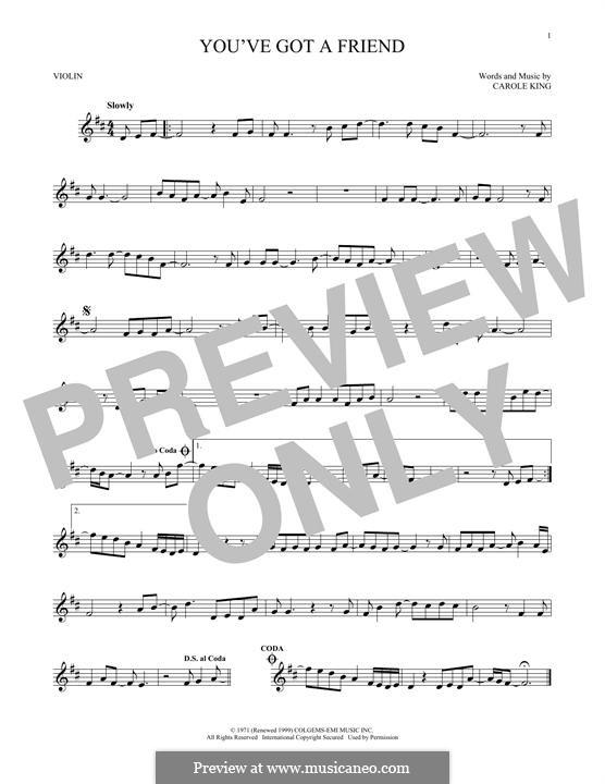 You've Got a Friend: Für Violine by Carole King