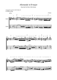 Suite für Cello Nr.6 in D-Dur, BWV 1012: Allemande. Version for guitar by Johann Sebastian Bach