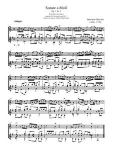 Sechs Sonaten für Cello (oder Bratsche) und Basso Continuo, Op.1: Sonate Nr.2, für Flöte und Gitarre by Benedetto Marcello
