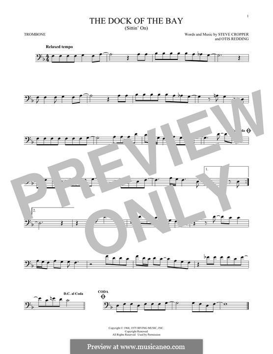 (Sittin' On) The Dock of the Bay: For trombone by Otis Redding, Steve Cropper