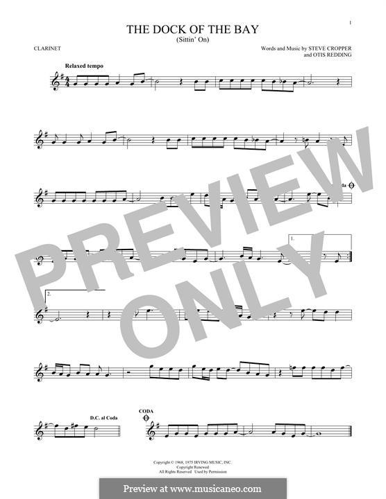 (Sittin' On) The Dock of the Bay: Für Klarinette by Otis Redding, Steve Cropper
