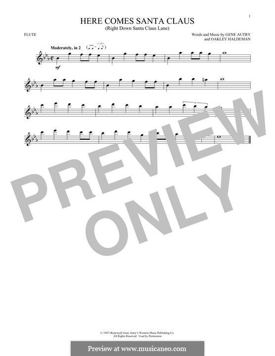 Here Comes Santa Claus (Right Down Santa Claus Lane): Für Flöte by Gene Autry, Oakley Haldeman