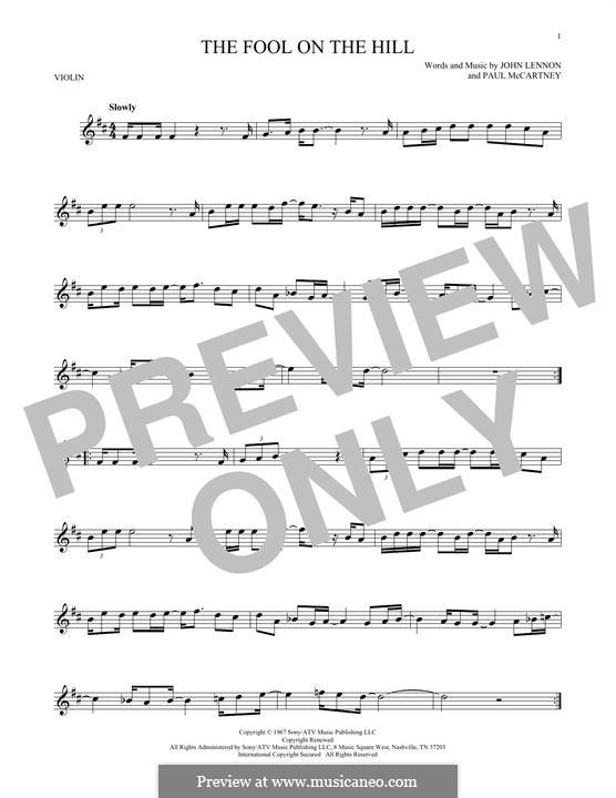 The Fool on the Hill (The Beatles): Für Violine by John Lennon, Paul McCartney