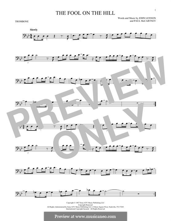 The Fool on the Hill (The Beatles): For trombone by John Lennon, Paul McCartney