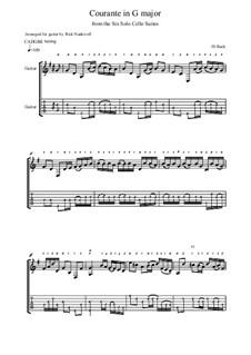 Suite für Cello Nr.1 in G-Dur, BWV 1007: Courante. Version for guitar by Johann Sebastian Bach