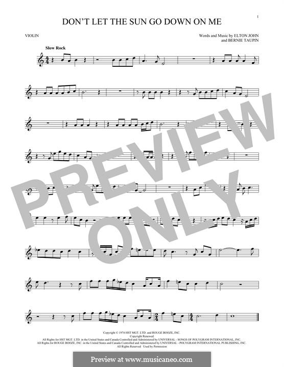 Don't Let the Sun Go Down on Me: Für Violine by Elton John