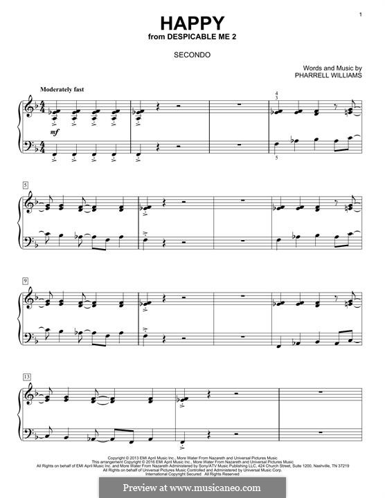 Happy (from Despicable Me 2): Für Klavier, vierhändig by Pharrell Williams