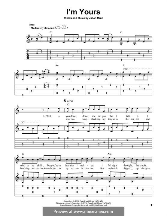 I'm Yours: Für Gitarre mit Tabulatur by Jason Mraz