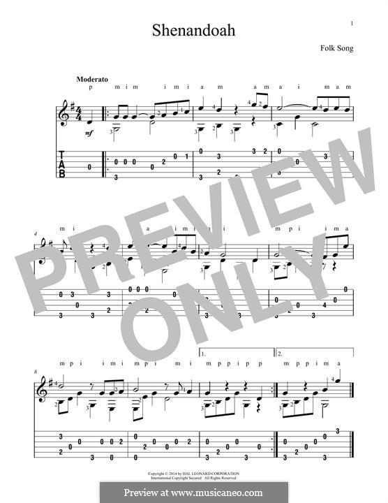 Shendandoah River: Für Gitarre mit Tabulatur by folklore