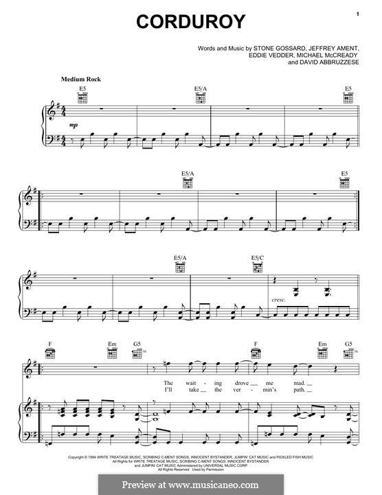 Corduroy (Pearl Jam): Für Stimme und Klavier (oder Gitarre) by David Abbruzzese, Eddie Vedder, Jeff Ament, Mike McCready, Stone Gossard
