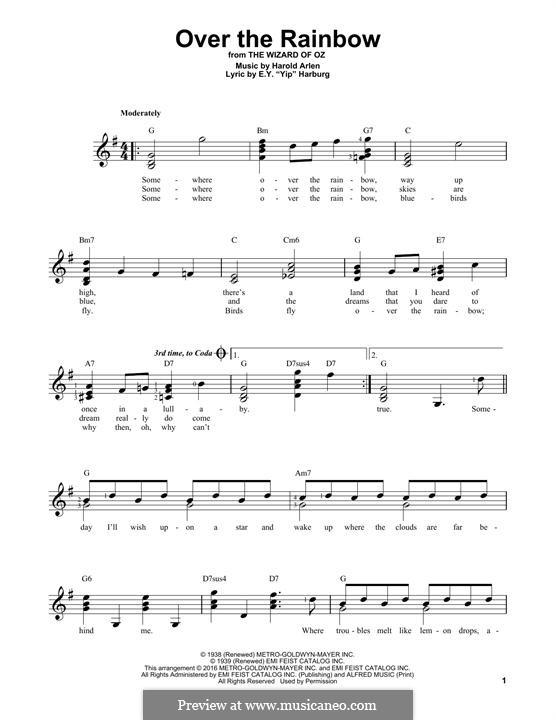 Over the Rainbow (from The Wizard of Oz): Für Gitarre mit Tabulatur by Harold Arlen