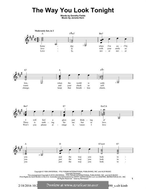 The Way You Look Tonight: Für Gitarre mit Tabulatur by Jerome Kern